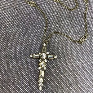 Sorrelli Ant.Gold & Crystal Cross Necklace,NWT